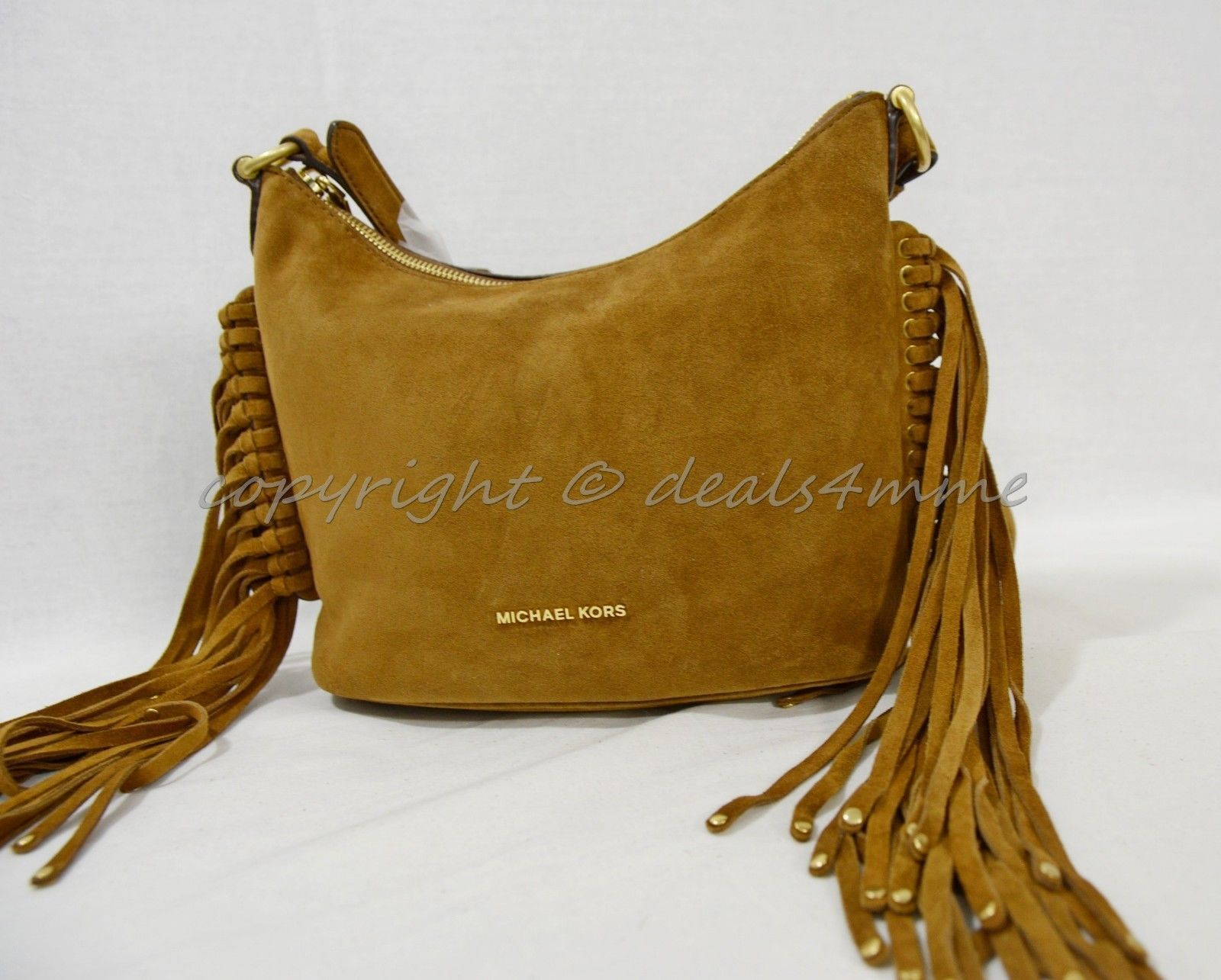 30ea9f0e4148 Michael Kors Billy Medium Fringe Suede Leather Meesenger Crossbody Dark  Caramel