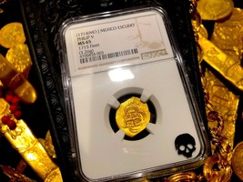 Mexico 1 Escudo 1714 1715 Fleet Shipwreck Fin Kn. Ngc 65 Gold Doubloon Treasure - $5,950.00
