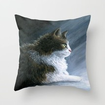 Throw Pillow Case Cushion Cover USA Cat 594 blue art painting L.Dumas - $40.26 CAD+