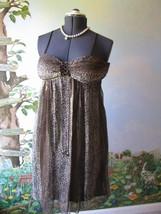 Nicole Dress by Nicole Miller Brown Spaghetti Strap Cocktail Silk Dress ... - $39.59