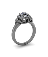 Women's Jewelry 14k Black Rhodium Finish 925 Silver Diamond Skull Ring S... - $96.71