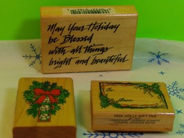 Lot Of 3 Comotion Rubber Christmas Holiday Stamps From The 90s Scrapbooking - $4.80