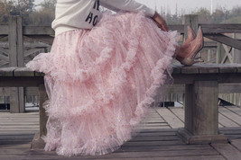 Pink Polka Dot Tulle Skirt Outfit Puffy Tiered Tulle Skirt Pink Holiday Outfit  image 5
