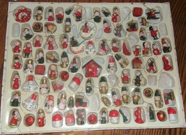 Lot 75+ Vintage Mini Christmas Ornaments Wood Wooden Hand Painted - $30.00