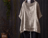 vintage summer blouse casual o neck short batwing sleeve solid shirt cotton linen thumb155 crop