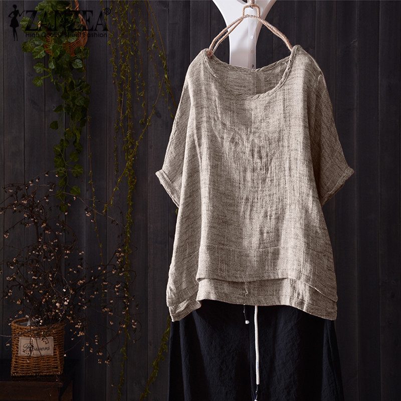 8 zanzea women vintage summer blouse casual o neck short batwing sleeve solid shirt cotton linen