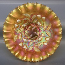 "Northwood Marigold Carnival Glass STRAWBERRY 9"" Pie Crust Edge Bowl 5119 - $112.50"