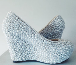"Wedge Wedding Shoes ivory Pearls Wedge Closed Toe Bridal Shoes Brides 3 1/2"" - $125.00"