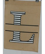 Kate Winston Brand Brown Burlap Monogram Black And White L Garden Flag - $16.00