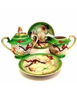Vintage Japan Sugar & Creamer Two Saucers Moriage Dragonware Bright Gree... - $38.60