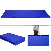 "Blue 4'x8'x2"" Thick Folding Panel Gymnastics Mat Gym Fitness Exercise Ma - $101.37"