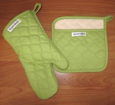 New WILLIAMS-SONOMA Garden Green Oven Mitt & Potholder Set FREE SHIP - $24.95