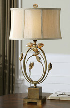 """ALENYA  29"""" BURNISHED GOLD METAL TABLE LAMP TEAK CRYSTAL LEAVES LIGHT UT... - $310.20"""