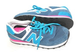 New Balance 574 WL574MOY Blue Suede Nylon Lace-Up Running Sneaker Size U... - $34.65