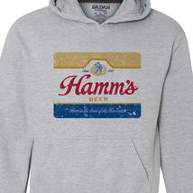 Hamm's Beer Hoodie retro vintage style distressed print grey graphic tee shirt image 2