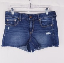 Womens American Eagles Super Stretch Blue Distressed Shorts Sz 12 - $14.99