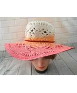 Liz Claiborne Small Medium Pink Peach Cream Open Weave Straw Sun Hat  - $18.46