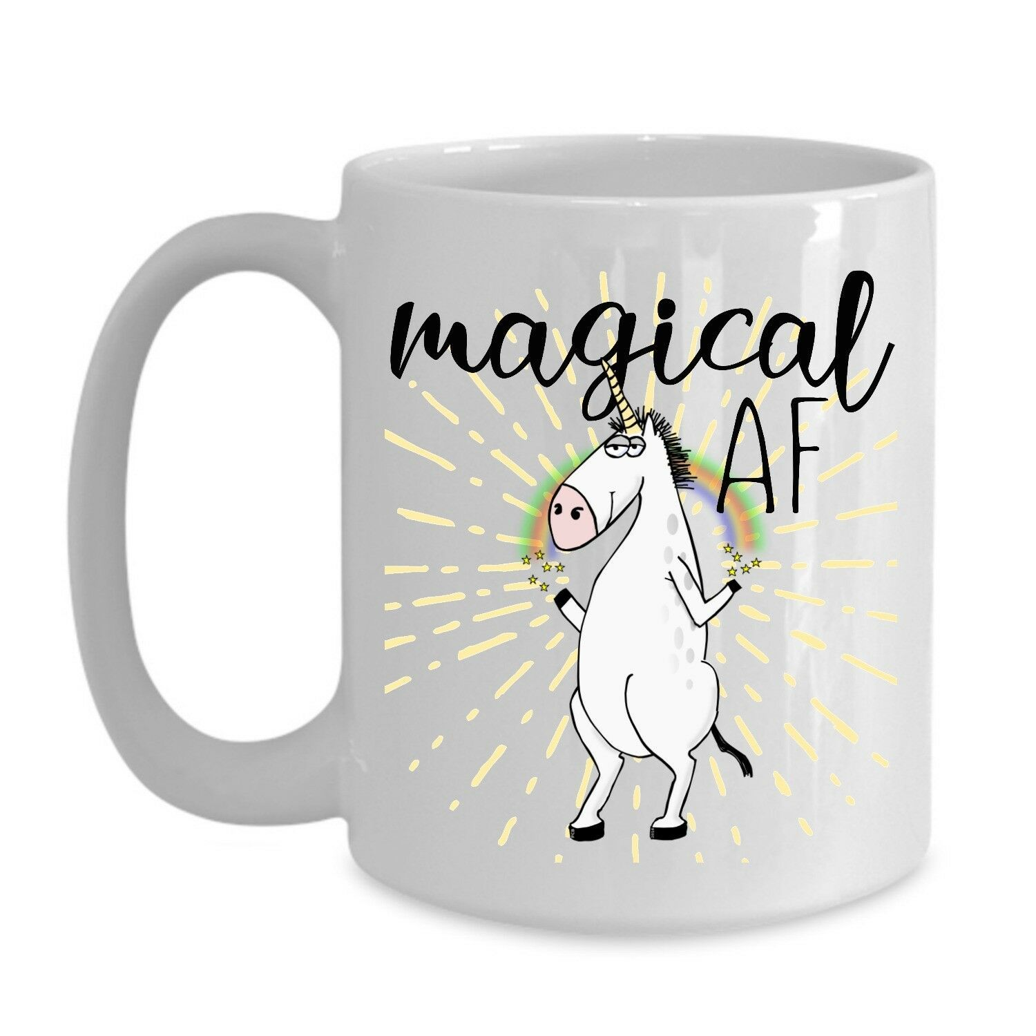 Magical AF Mug Unicorn Funny Rude Gift for Her Mom Coworker Coffee Cup Ceramic