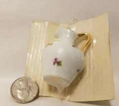 Vintage Bardet Limoges France Dollhouse Miniature Porcelain Ceramic Pitcher Vase - $11.55