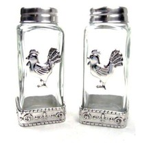 Salt and Pepper Shaker Set Glass with Metal Tri... - $12.86
