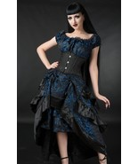 Blue Black Brocade Ruffle Trim Corset Back Long 3 Layer Victorian Goth S... - $66.01