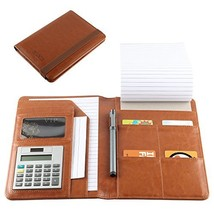 Leather Portfolio, Small Notebook Padholder Junior Legal Notepad with Ca... - $47.83 CAD