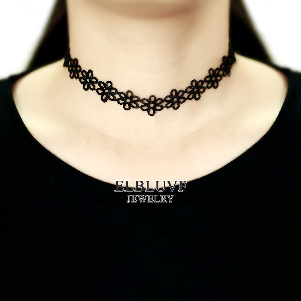 ELBLUVF Choker Necklace Flower Black Velvet Lace Choker Goth Tattoo Necklace