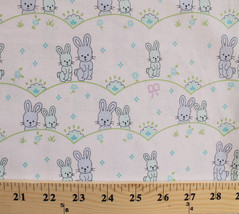 Bunnies Bunny Rabbits Flowers Kids Babies Blue Cotton Fabric Print BTY D... - $10.95