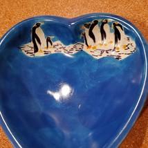 Vintage Trinket Dish, Blue Soapstone Heart & Handpainted Penguins, Made in Kenya image 3