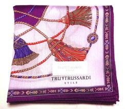 Tru Trussardi Handkerchief scarf bandana L Cotton Purple Tassel Auth New - $19.79