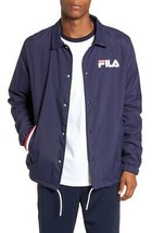 NEW $90 FILA NAVY BLUE FLEECE LINED SNAP BUTTON MATEO COACHES JACKET SIZE M - $39.59