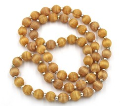 Vintage Golden Brown Silk Thread Single Strand Necklace Silver Tone Spacer Beads - $9.89