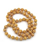 Vintage Golden Brown Silk Thread Single Strand Necklace Silver Tone Spac... - $9.89