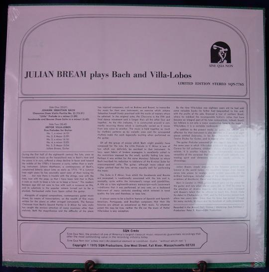 JULIAN BREAM plays Bach & Villa Lobos - Sine Qua Non Records SQN-7765