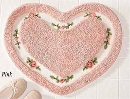 Pretty Pink Floral Rose Heart Shape Bath Accent Rug Floor Mat Decor by h... - $14.68
