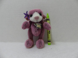 Mauve Artist Teddy Bear, Fuzzy, Super Cute, Little - $45.00