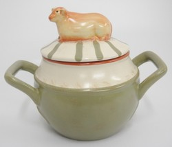 Nikko Country Market Soup Server Bowl w Cow on Lid Handled Covered Pot Green Tan - $9.89