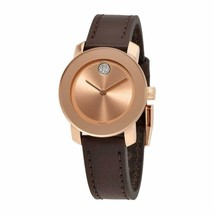BRAND NEW MOVADO BOLD 3600438 SUNRAY ROSE DIAL BROWN LEATHER WOMEN'S WATCH - $273.51 CAD