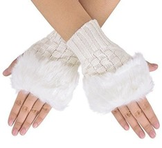 Fur Fingerless Gloves Faux Arm Warmer Cable Knit Plush Hand Wrist Winter... - $11.99