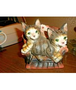 Vintage Tiger Stripe Kittens Laying On Couch Blanket in Back Blue Eyes 3... - $17.81