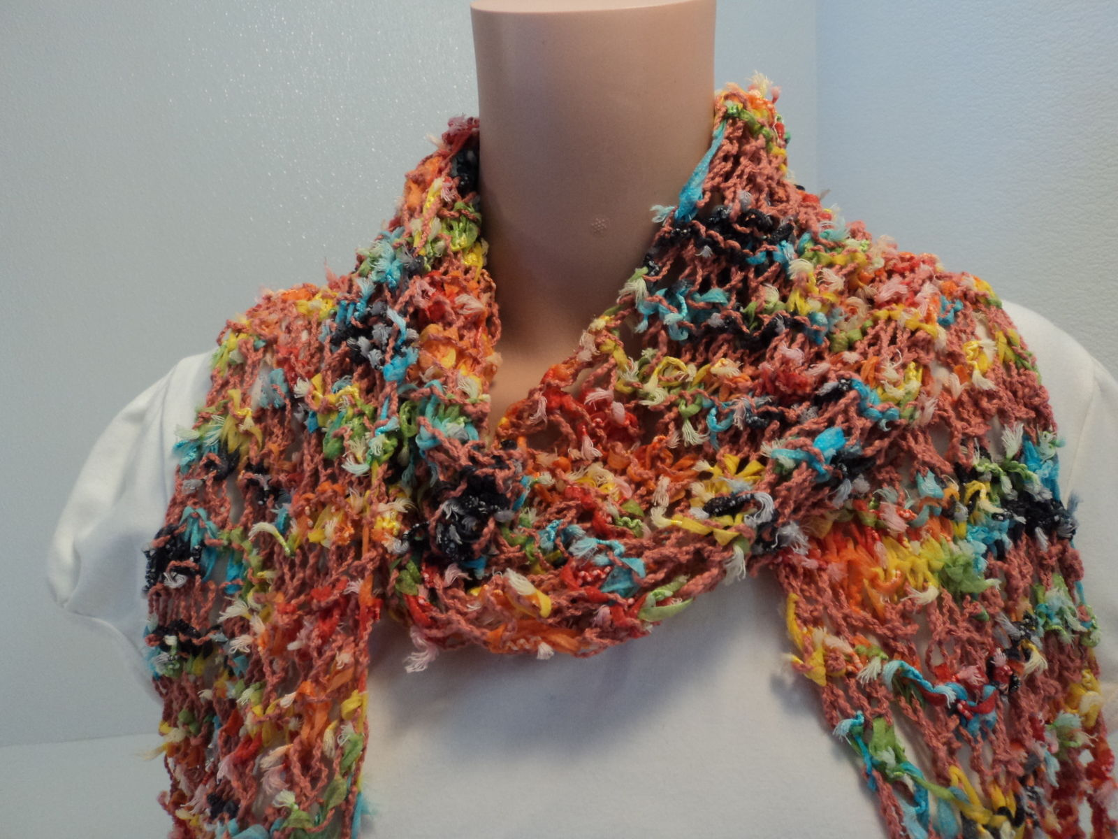 Handcrafted Scarf Length 70in Salmon Multicolor Cotton Linen Fringes Female