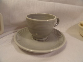 Vintage Homer Laughlin Fiesta Gray Cup & Saucer Ring-Handled Original Excel Cond - $14.90