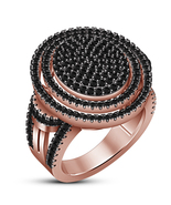 Rose Gold Plated 925 Silver Round Cut Black Diamond Halo Engagement Band... - $138.78
