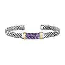 Phillip Gavriel Sterling Silver Amethyst Bar Design Cuff Bracelet - $319.99