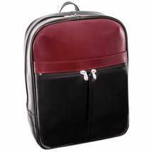 McKlein USA Avalon 15.4 Inch Leather Laptop Slim Backpack Black and Red ... - $114.83