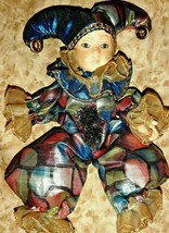 Hand Painted Porcelain Embellished Colorful Court Jester Doll Collectibl... - $26.17