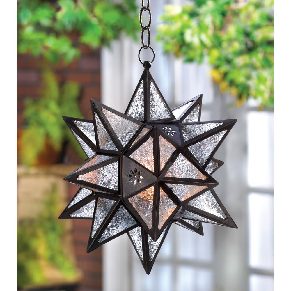 Lot of 4 Moroccan Hanging Star Lanterns