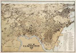 """1877 Pictorial Map Cambridge Massachusetts Charles River 11""""x16"""" Wall Ar... - $12.38"""