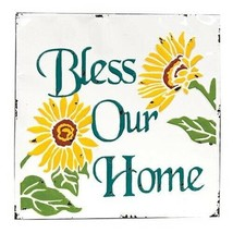Bless Our Home Vintage Metal Wall Plaque - 16.5 x 16.5 in Summer Sunflow... - $59.05