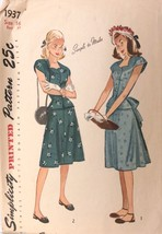 Vtg 1940s Sewing Pattern Simplicity #1937 Size 16 Bust 34 Teen Simple Dress - $21.31